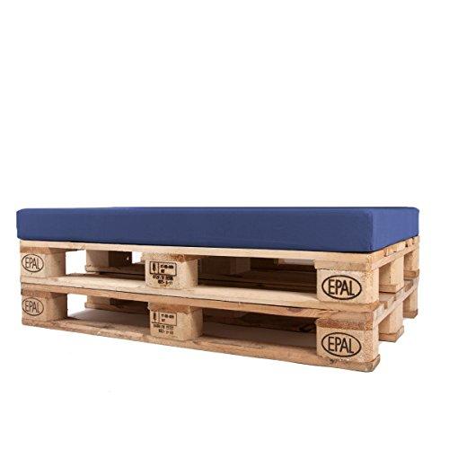 Arketicom Pallet One CHEOPE - Cojin Asiento para Sofa en Euro Palet con tejido para Exterior Impermeable y Desenfundable - interior Espuma de Poliuretano Alta Densidad Made In Italy Hecho a ManoMedidas 80x60x10 Cm: Color 499 - Blu Oscuro