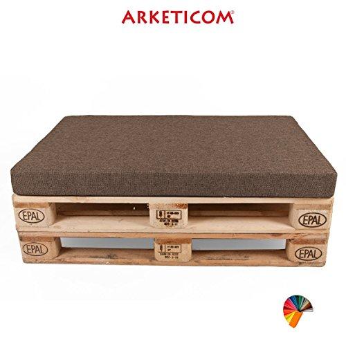 Arketicom Pallett-One, Cojin Asiento para Sofa en Pallet, Poliuretano HD, Marron Mixto Algodon Polyester cm 80 Largo x 60 Alto x 10 grossor. 1000% Artesania Italiana