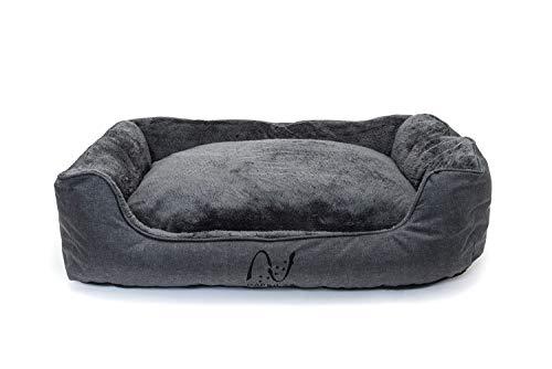Cama para Perro Mediano, Lavable con Almohadas de Felpa Reversibles, Gris
