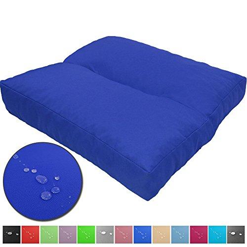 Cojines de asiento LoungeWave para jardín - Cojines outdoor repelentes al agua y acolchados para bancos, sofá en palets u otros asientos de jardín, Color:Azul, Talla:40 x 40 cm