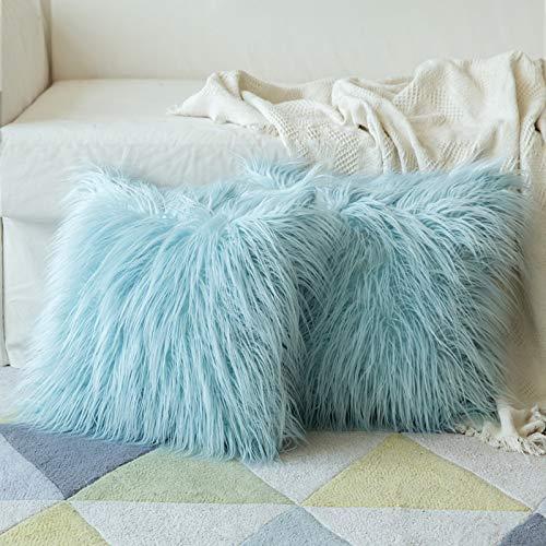 Cojines de pelo Azul Claro - Pack 2ud.