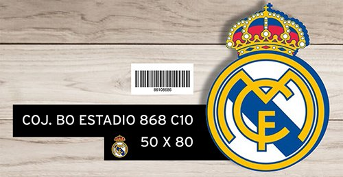 Cojín bolitas con forma de escudo Real Madrid, 50 x 50 x 80 cm, color blanco