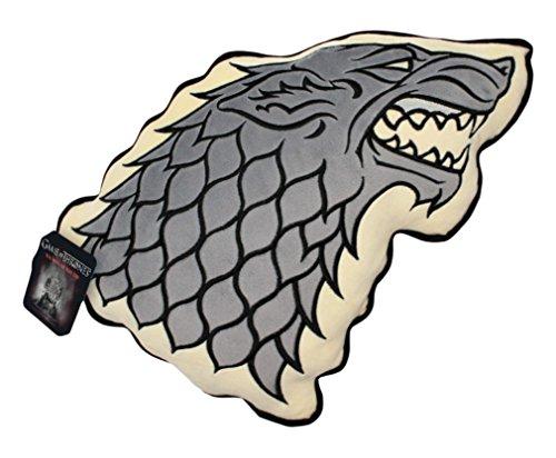 Cojín con relleno del lobo huargo de la Casa Stark de 35cm. Parte trasera con las casas de Juego de Tronos
