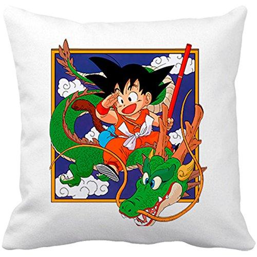 Cojín con Relleno Goku con Shenlong Manga - Blanco, 35 x 35 cm