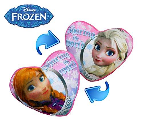 Cojín doble en forma de corazón con motivo de ELSA Y ANA 45x40cm-Frozen