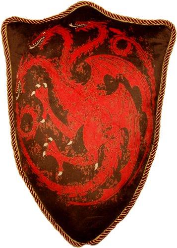 Funda de cojín con forma de escudo de la casa Targaryen de Juego de Tronos. Color negro y dibujo rolo