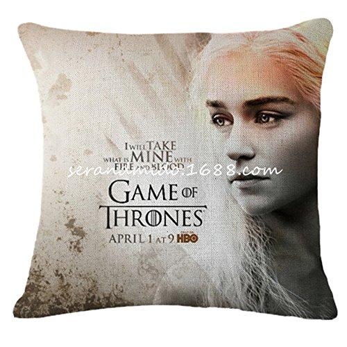 """Funda de cojín de lino de 45x45cm de Daenerys Targaryen: """"I will take what is mine with Fire and Blood"""""""