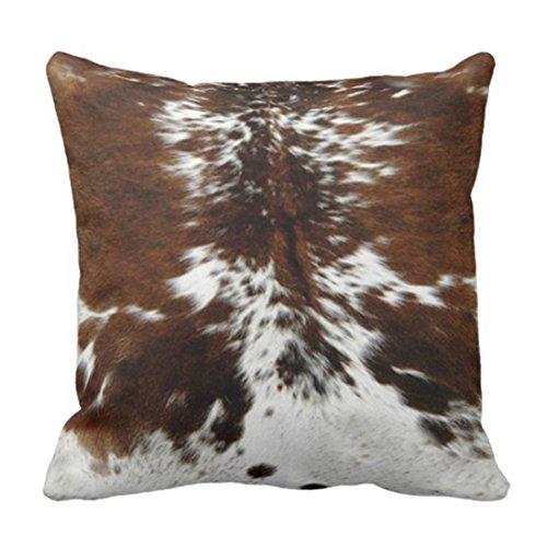 Funda de cojín de tres colores con estampado de piel de vaca marrón para decoración del hogar, funda cuadrada