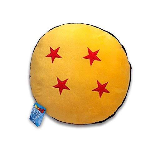 Funda de cojín redondo de 36cm de diámetro. Color amarillo y estrellas rojas