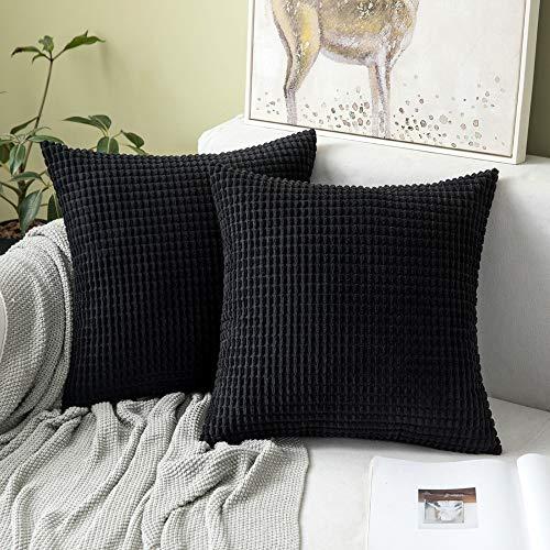 Juego de 2 cojines de color negro - 40 x 40 cm