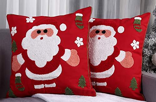 Juego de 2 Cojines navideños con Aplicaciones Bordadas, Hechos a Mano, diseño de Papá Noel, 45 x 45 cm, Rojo,
