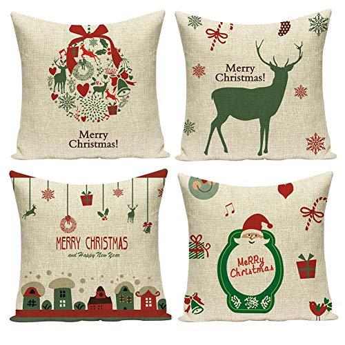 Pack de 4 Fundas de Cojines Navidad