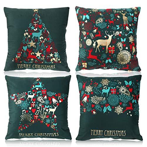Pack de 4 fundas de cojín de Navidad - color verde