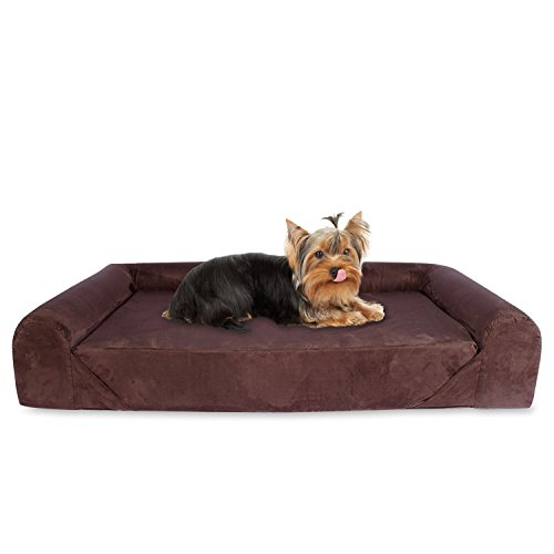 Sofa Cama para Perros y Gatos, de Tamaño Pequeño a Mediano, con Memoria Viscoelástica Ortopédica, 73 x 60 x 14 cm, S - M, marrón