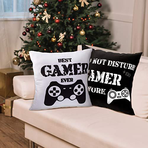 2 Fundas de Cojín Negra y Blanca para fanáticos de videojuegos, 40 x 40 cm
