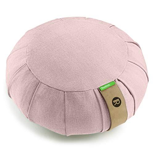 Cojín de meditación zafu redondo desenfundable, de algodón natural, rosa.