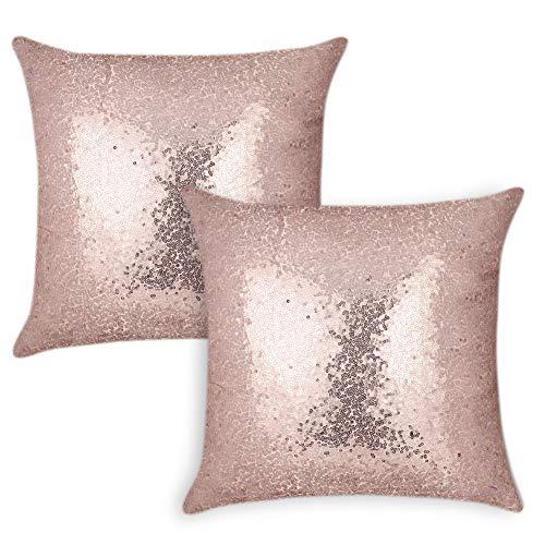 Pack de 2 fundas de cojín rosa con lentejuelas