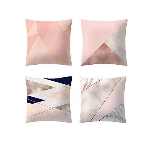 Pack de 4 fundas de cojín rosa - estampado geométrico