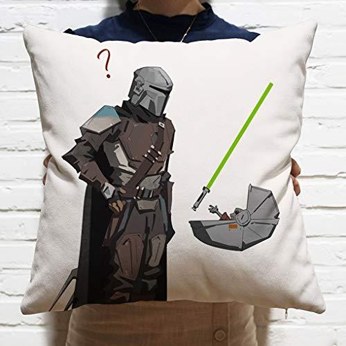 GRFH Cojín Mandalorian Yoda Pattern Pillow 36 * 36cm Material de algodón PP de Alta Elasticidad Suave y Confortable Cojín de Almohada para sofá/cabecera/Coche Pillow D
